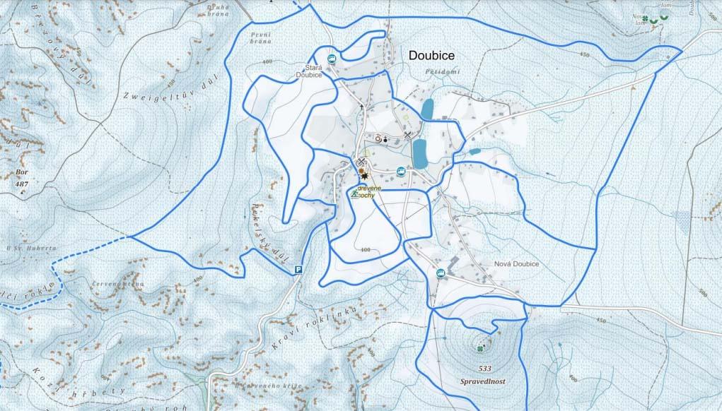 Lyžařské stopy v Doubici